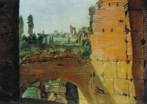 "Copia da Ernest Fries "" Veduta dal Colosseo"""
